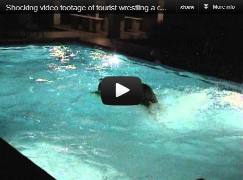 Man wrestles crocodile in swimming pool